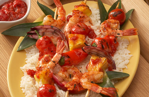 Pineapple-Shrimp Kabobs with Raspberry Barbecue Sauce
