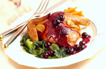 Roast Cornish Hens with Sauted Blueberries