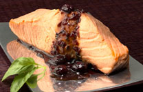 Blueberry Basil Sauce & Poached Salmon
