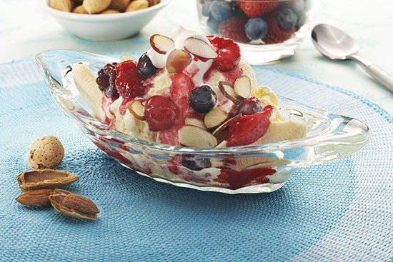 Naturipe® Farms Banana Split with Mixed Berry Sauce