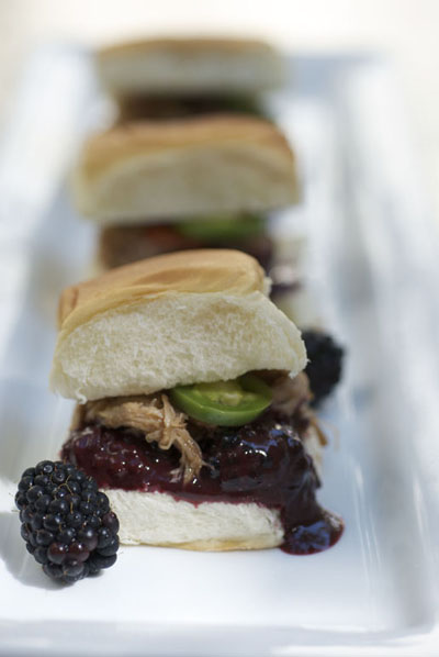 Blackberry Pork Slider on Hawaiian Roll