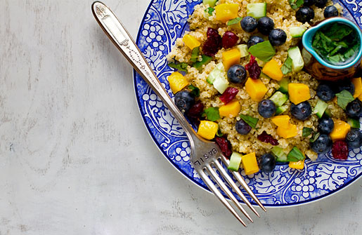 Mango Blueberry Quinoa Salad with Lemon Basil Dressing