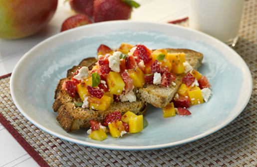 Strawberry Mango Feta Toast Points