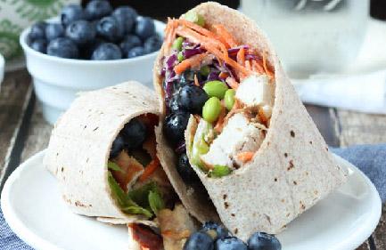 Thai Chicken Salad Wrap with Blueberries